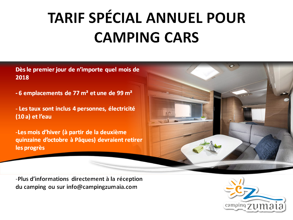 TARIF SPÉCIAL ANNUEL POUR CAMPING CARS Camping Zumaia
