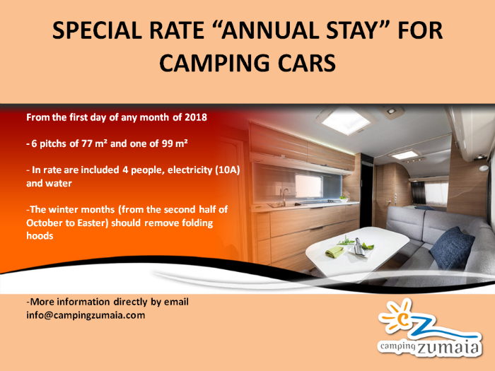 special rate annual stay for caravan Camping Zumaia
